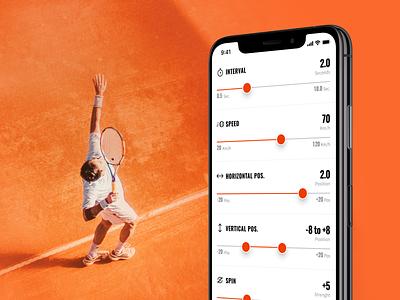 Diamante -iOS app controlling advanced tennis ball machine sport app ui design tennis ios mobile ux ui
