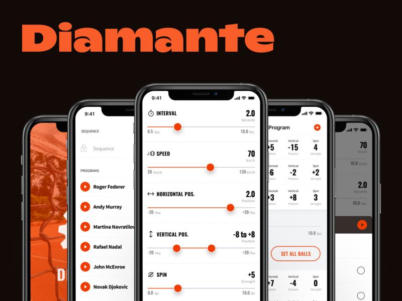 Diamante -iOS app controlling advanced tennis ball machine ux mobile sport app design ios ui