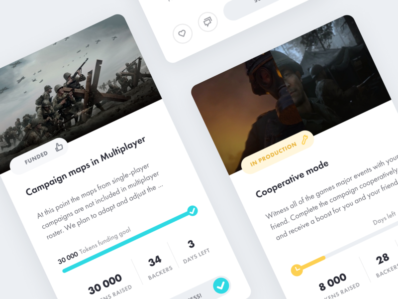 Protagonist - Feature Funding Tool for Game Studios cards cards ui desktop app crowd funding crowdfund gaming ux ui