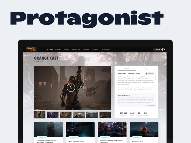 Protagonist - Feature Funding Tool for Game Studios desktop gaming crowdfunding crowd funding crowdfund design dashboard design dashboad ux ui