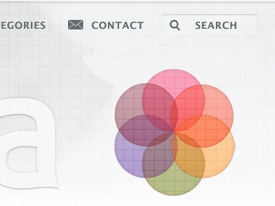 Navigation extended into search search logo color texture
