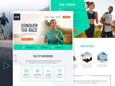 Custom training plans - web design trainers coach nutrition exercise wellness running app healthy fitness run sport fitness website minimal app landing page web illustration clean website modern website webdesign landingpage web design landing page