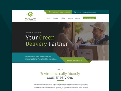 Web design for courier company delivery company delivery app environment ecofriendly delivery service courier delivery web illustration agency web design agency website agency simple minimal modern website clean website landing page landingpage webdesign web design website