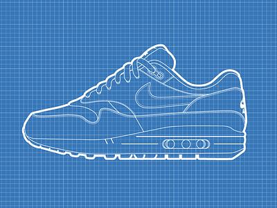 Nike Air Max 1 Blueprint nike air max air max vector illustrator illustration kicks blue trainer shoe sneaker blueprint nike