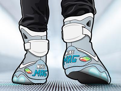 Nike Air Mag back to the future nike air mag air mag illustration illustrator sneakers nike