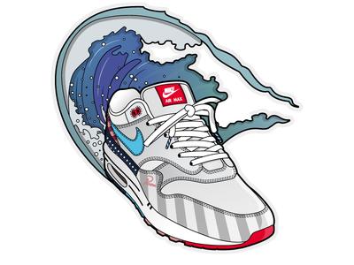 Summer heat: The 2018 Parra x Nike Air Max 1 graphic design air max illustrator illustration surf shoes kicks wave air parra sneakers nike