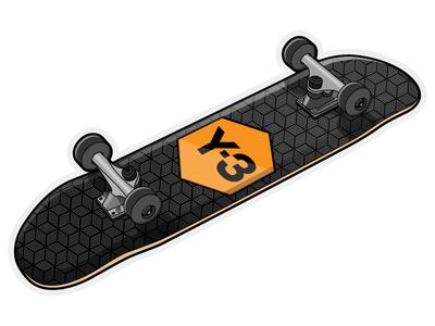 Adidas Y-3 Skateboard concept geometric graphic illustrator illustration streetwear streetstyle board skater skate skateboard adidas y3