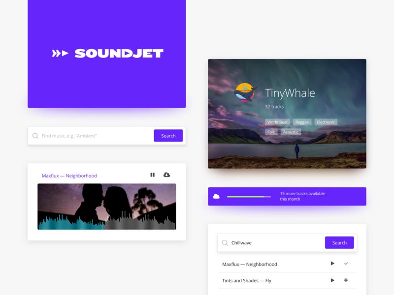 Soundjet —audio stock app branding audio player search typography logo web design website web app web ux ui app