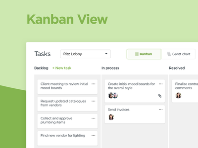 Task Management — Kanban View workflow process list task cards card kanban tasks typography web ux web app website app ui
