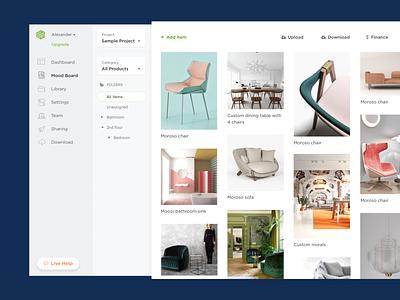 Mood Board UI b2b saas app interior furniture pinterest tile moodboard mood board typography web ux web app ui