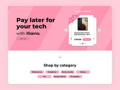 Klarna finance page: Ebuyer splash landing klarna brand minimal css html front end web development webpage clean responsive web design design ux branding ui