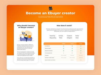 Become an Ebuyer creator illustration vector brand clean minimal page splash landing web development web design web ux ui design
