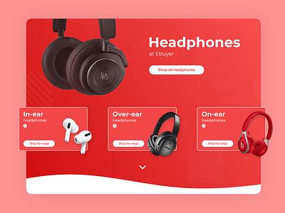 Headphones - Category page: Ebuyer tech red webpage css html modern clean ux ui development web brand identity minimal design
