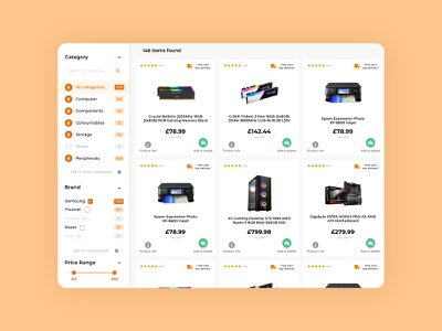 Ebuyer: Products view search filter easy simple clean minimal web development web page web design ux ui design