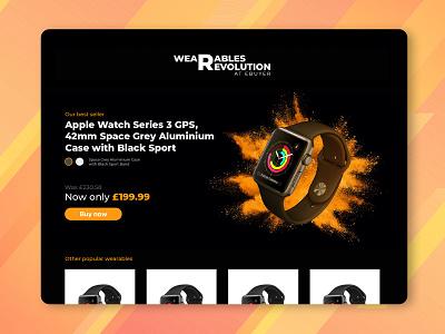 Ebuyer: Wearables Revolution concept ux html css web development web page website web design smart watch smartwatch black powder bomb paint clean ui minimal design