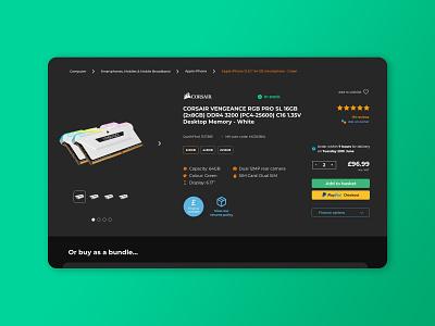 Ebuyer product page redesign: dark theme dark mode dark theme black web design ux ui clean design minimal
