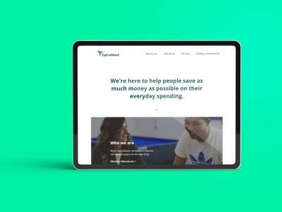 TopCashback - About us page company information company info about page about us web development web design ui ux brand clean design minimal