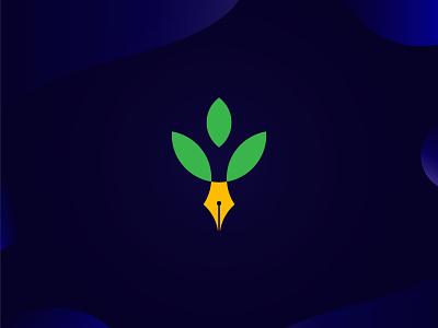 Leaf & Pen Logo illustration design logo logodeaign graphic icon graphic design branding logo design logo logo icon