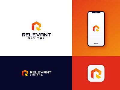 RELEVANT DIGITAL - Unsold Modern Technology/Digital Brand Logo ui illustration design logo logodeaign graphic icon graphic design branding logo design logo logo icon