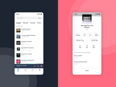 Digital DJ Pool - Native App hip hop boana music djs product design digital ux  ui djpool overlay playlist music app music player app