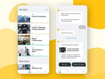Intao - App for digital soft skill learning bubbles chat app app design ux ui concept design product design product clean learning digital learning details flat yellow iphone mobile app mobile ui minimal