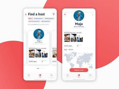 Couchsurfing App swipe berlin planet uxdesign product illustration product design dailyui design clean branding redesign web red travel mobile design visual design ui ux app