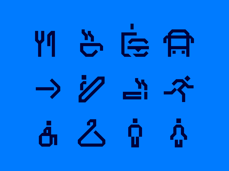 45 Degrees pictos wayfinding 45 pictogram icon