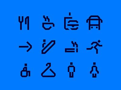 45 Degrees pictos wayfinding 45 pictogram icon
