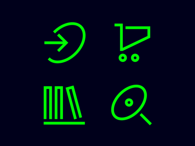 Test cart search bookshelf pictogram icon