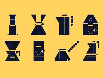 Coffee makers geizer drip coffee aeropress chemex makers coffee pictogram icon
