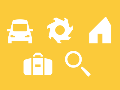 Various pictos search briefcase home settings car pictogram icon