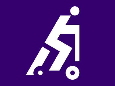 Scooter man pictogram brutalism logotype scooter pictogram icon