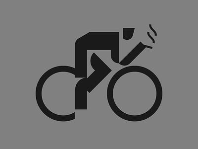 Smoking olympic cyclist smoking bike cycle pictogram icon