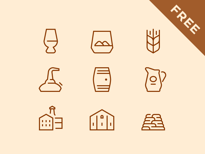Whisky Break Free Icons cask snifter warehouse malt jug whisky distillery pot still tumbler ios peat freebie
