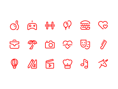 Verb icons love unicorn music culture travel beauty food gym hobby
