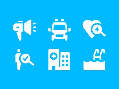 MedAboutMe Icons symptom pool first aid ambulance medicine health