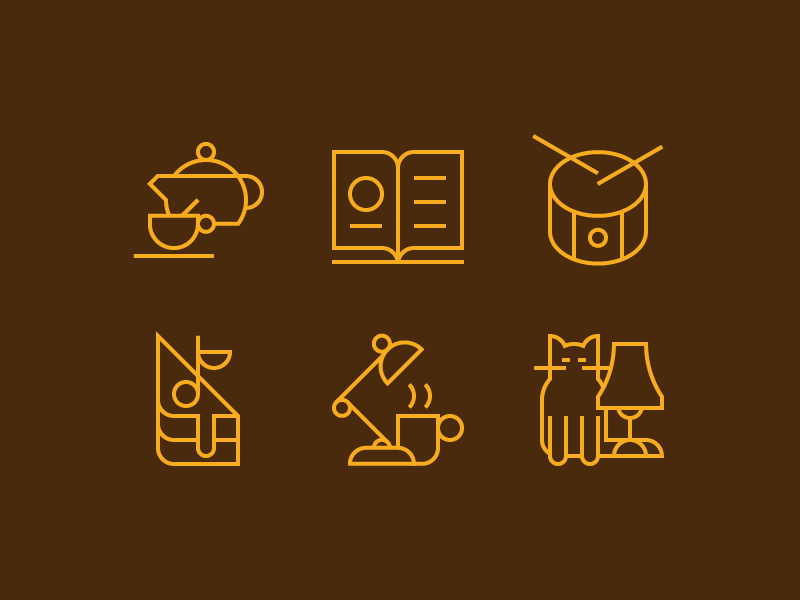 Ziferblat icons lamp cake cat tea drum coworking