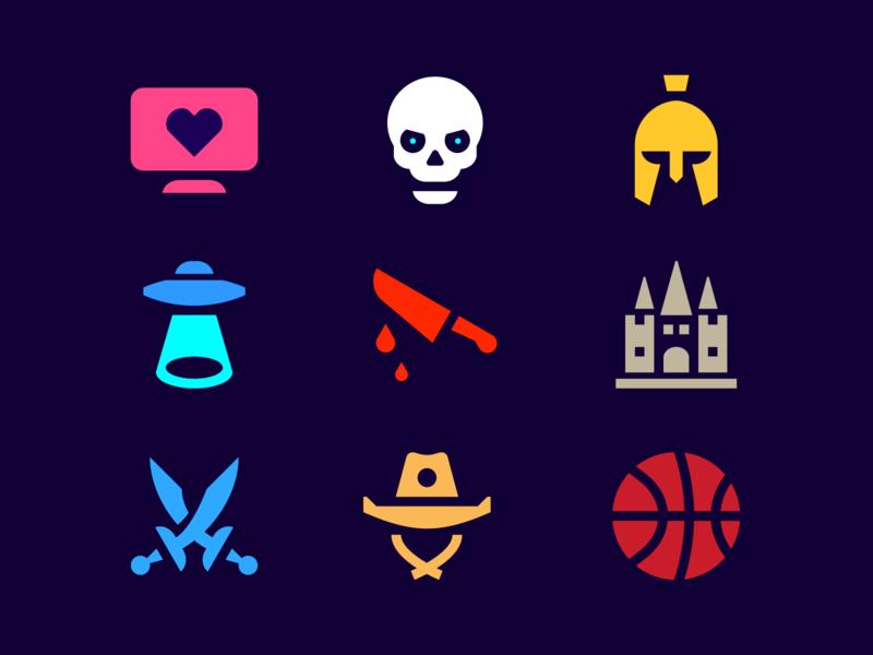 Movie Genres Icons By Evgeniy Artsebasov Dribbble Dribbble