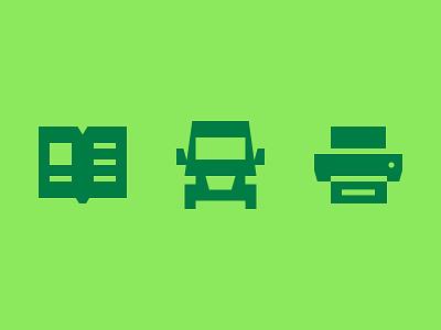 Sharp edges printer book transport brutalism pictogram icon