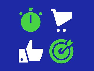 Icons stopwatch goal cart like pictogram icon