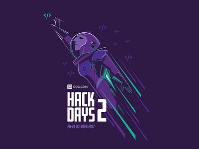 Hack Days Astronaut gog gog.com vector programming hackaton universe astronaut illustration