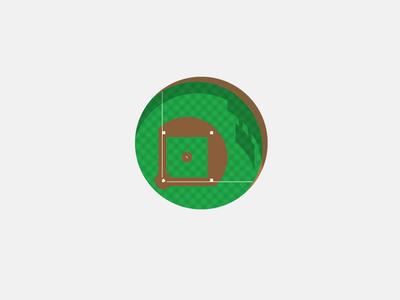 Ballpark in the Round baseball field park stadium sport shadow flat grass circle for fun