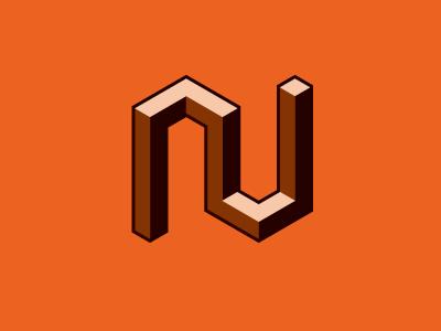 block N n for fun personal orange bevel logo