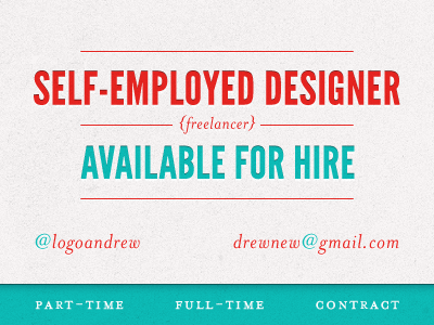 Available available work hire part-time full-time contract freelancer red blue available for hire self-employed logo designer