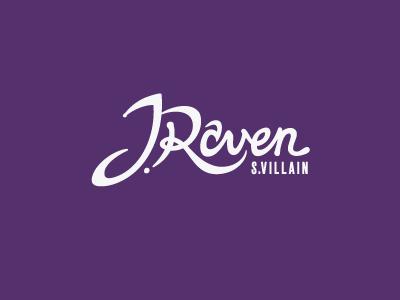 J.Raven logo personal typography hand-lettering purple eggplant villain wip 525 pantone 525