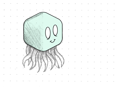 Octo-Cube 1 wip vectorizing sketch water octopus creature zombie for fun dot grid
