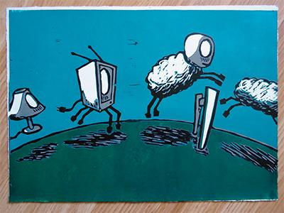 Not Enough Sheep printmaking print fine-art linocut reductive blue green tv lamp zombie night dream