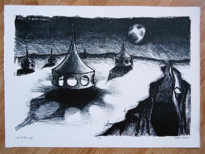 Last of the Light fine-art printmaking black white alien world