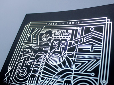 KING Notebook beard face chess king graphic design silver foil scottish thickline print foil