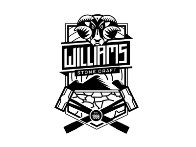 Williams Stone Craft Logo typography bespoke ornate scotland ram hammer thick line thickline logo crest
